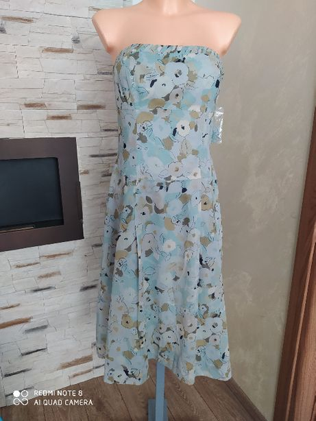 Sukienka Midi koktajlowa niebieska kwiaty vinted rozkloszowana r.XS/S