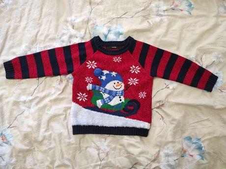 Новогодний свитер со снеговиком George на 1 - 1,5 года, 80 - 86 см