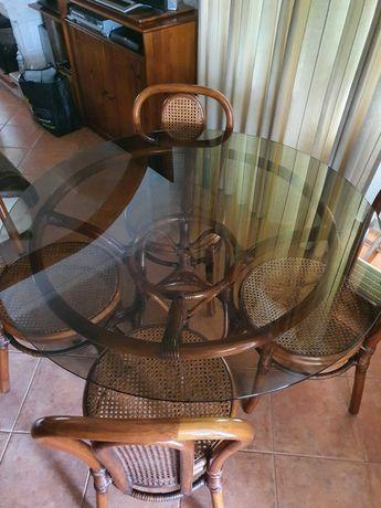 Mesa redonda vidro+4 cadeiras de jantar