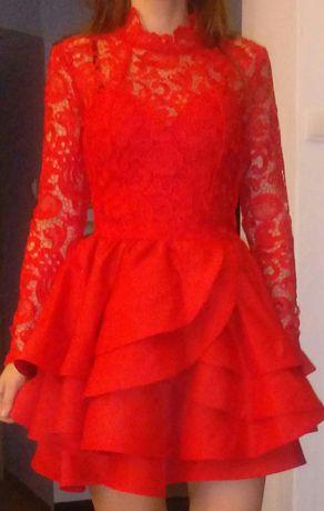 Czerwona sukienka na wesele / imprezę Juanita LOU rozmiar S