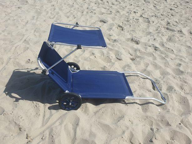 Leżak plażowy z daszkiem i kółkami. Możliwa WYSYŁKA.