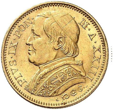 Złota moneta 20 Lire 1868 r. Watykan