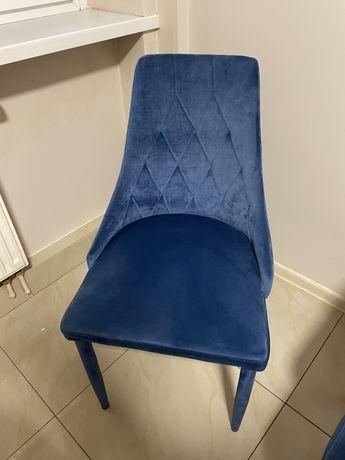 Krzesło welurowe aksamitne pikowane blue niebieskie