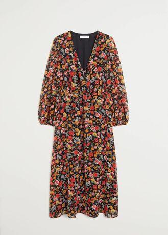 Новое длинное платье с цветочным принтом mango размер S (36)
