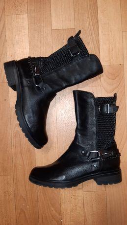 Фирменные кожаные сапоги ботинки Tamaris рр 38 в идеале еврозима