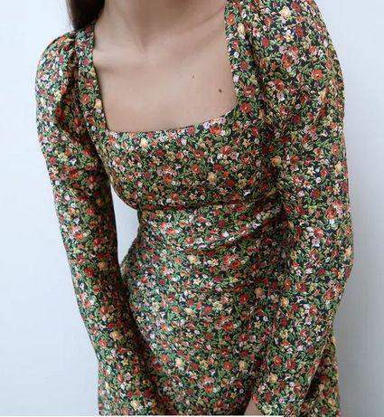 Nowa sukienka midi XS Zara Reformation Realisation Par jesień łączka
