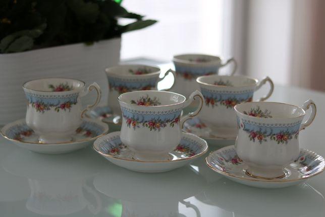 PARAGON porcelanowy komplet 6 filiżanek do herbaty - złocenia