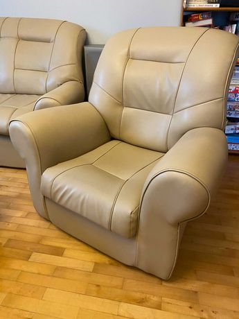 Kanapa (narożnik) skórzana + fotel (beż)