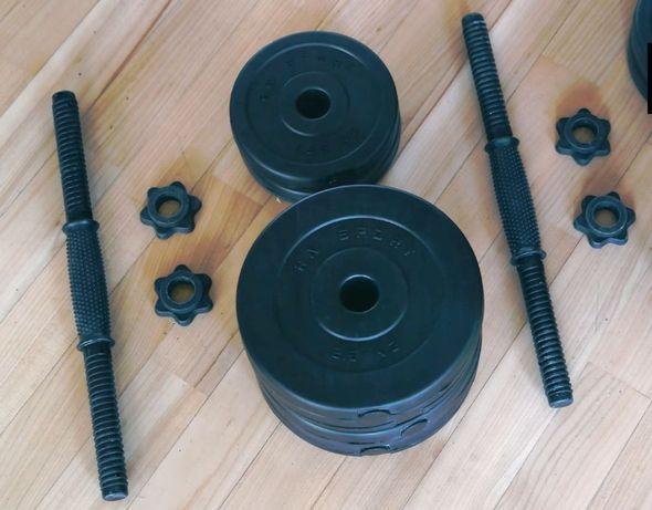 Гантели наборные 2 шт по 16 кг с АБС покрытием + Эспандер и скакалка
