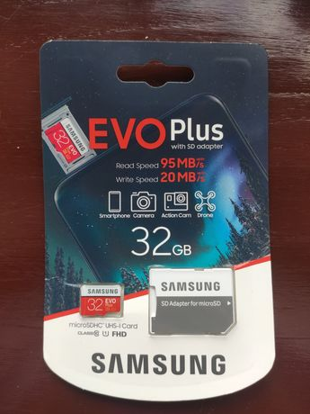 Samsung EVO Plus 32gb. Карта памяти с адаптером на 32gb.