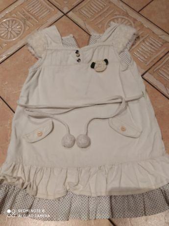 Piękna zimowa sukienka sztruks 104