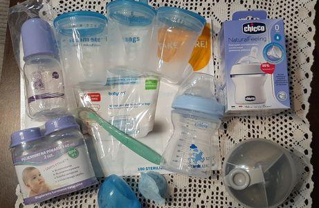 Nowe butelki chicco x 2, woreczki do sterylizacji i inne - wyprawka!!