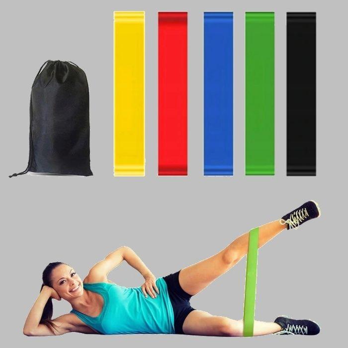 NOWY ZESTAW 5 gum do ćwiczeń MINI BAND fitness gumy taśmy