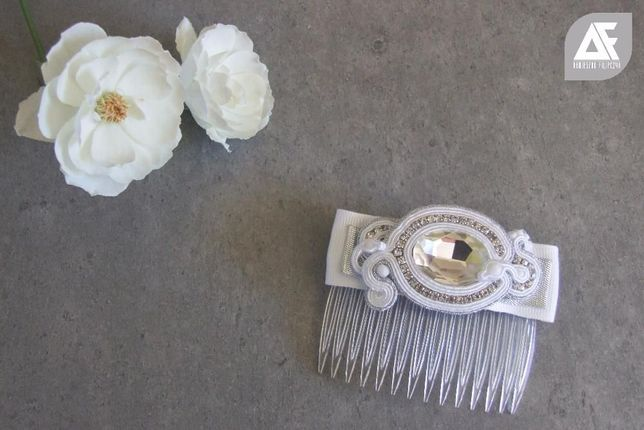 Grzebyk ślubny ślub biżuteria spinka do włosów sutasz biały prezent