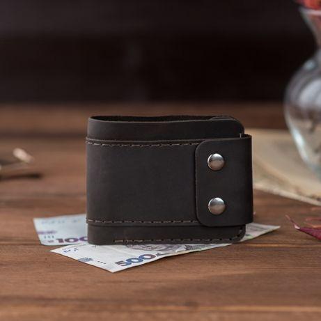 Качественный коричневый мужской кожаный кошелек, бумажник или портмоне
