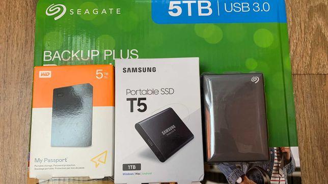 внешний жесткий диск 5TB, WD my passport, seagate, ssd 1 tb Samsung T5