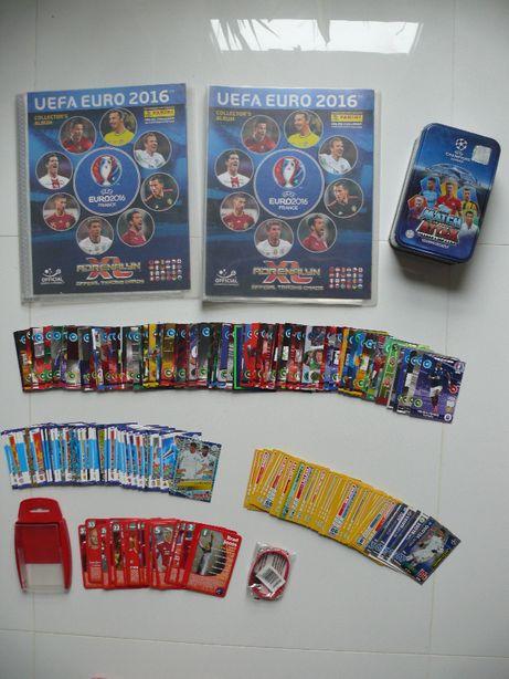 Kolekcjonerskie karty piłkarskie uefa euro 2016 2 albumy panini puszka