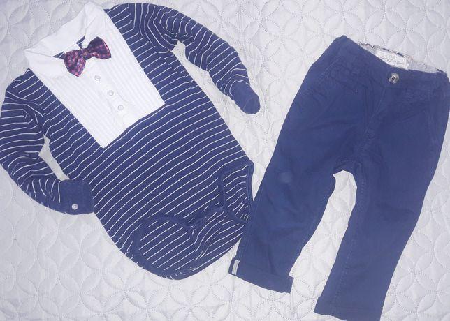 H&M zestaw BODY z muchą + Spodnie Granatowe 86