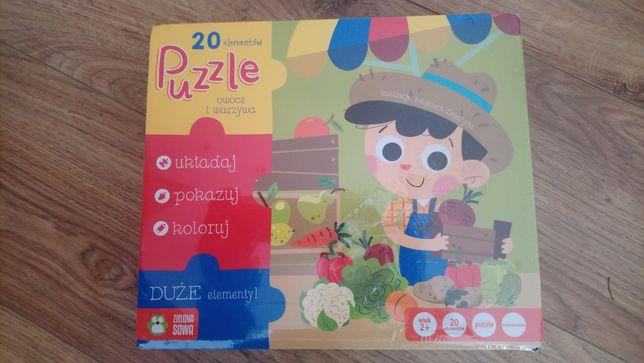 Puzzle 20 elementów duże elementy NOWE prezent + kolorowanka + piłka