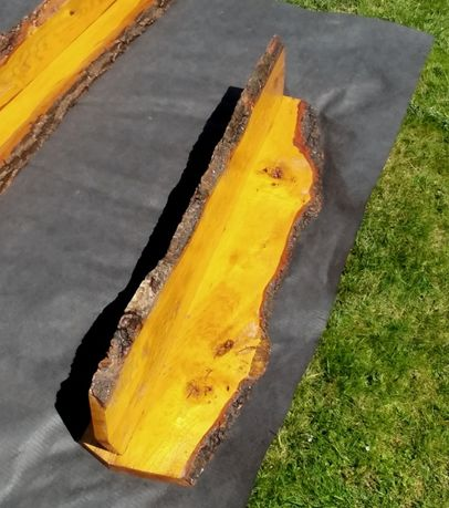 Półka drewniana sosnowa 100x20x20, wisząca, lite drewno, uchwyty