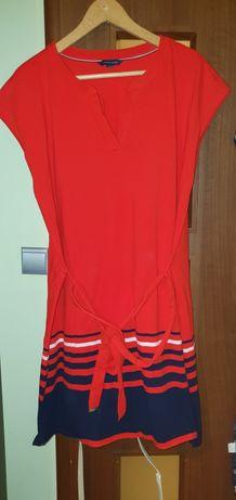Sukienka Tommy Hilfiger XL bawełna, czerwona, pomaranczowa, granatowa