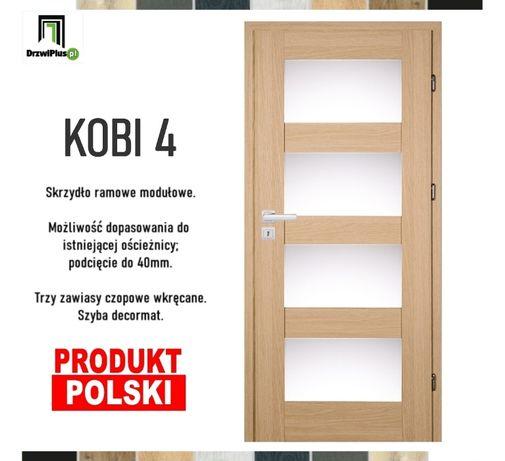 Polskie drzwi wewnętrzne z opcją dopasowania do ościeżnicy.