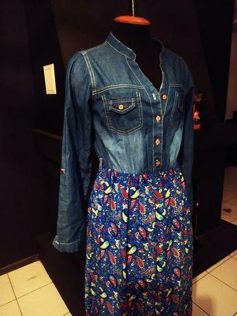 Платье - рубашка этно принт джинс длинное макси