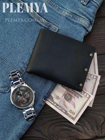 Кошелек мужской черный/кожаный бумажник/зажим для денег/портмоне