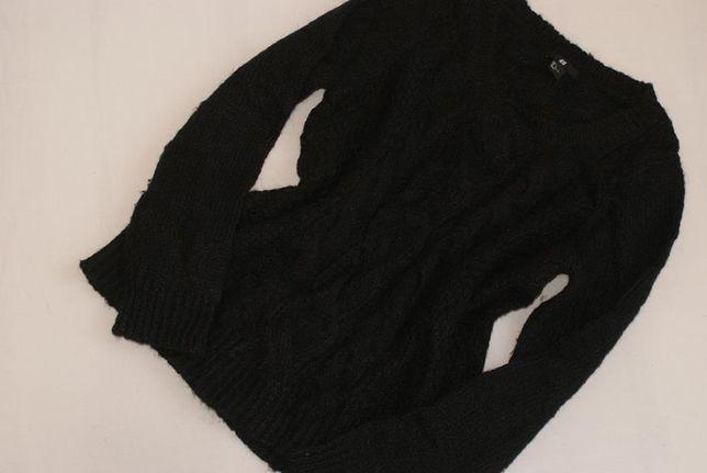 H&M czarny WEŁNIANY sweter CIEPŁY warkocze L