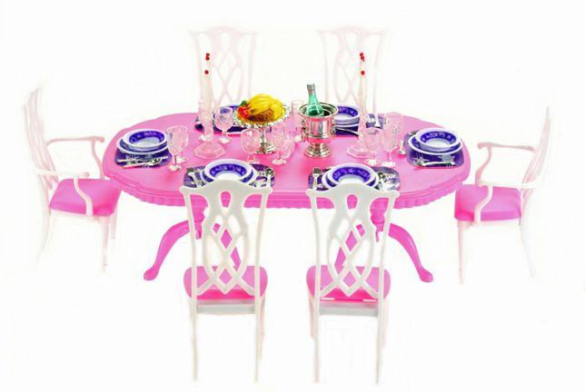 Jadalnia dla lalki Barbie stół krzesła 78 el.