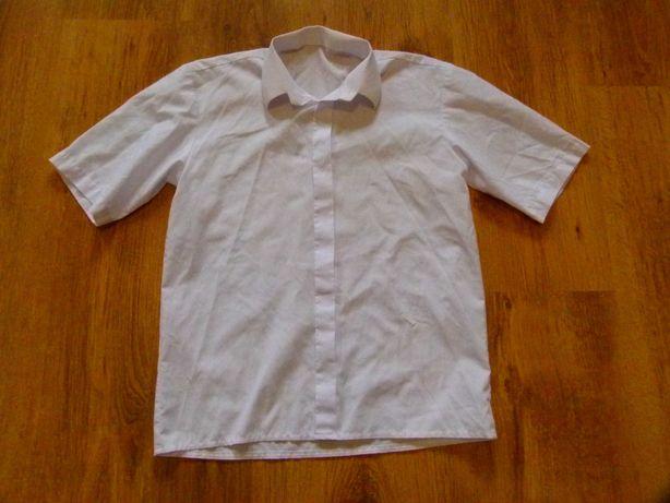 rozm. 134 koszula biała galowa krótki  rękaw chłopięca
