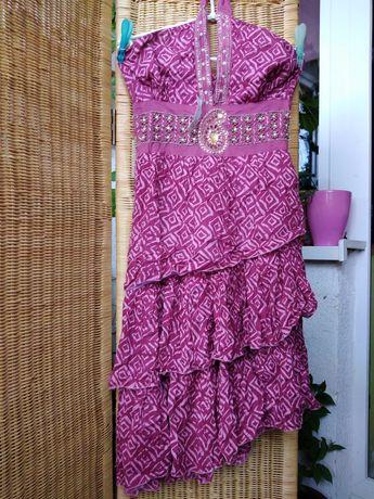 Nowa sukienka indyjska orient falbany bawełna