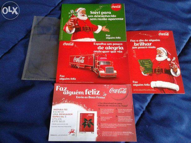 Magnifico e Raro Conjunto de 3 Postais da Coca Cola e 1 Selo Incluído