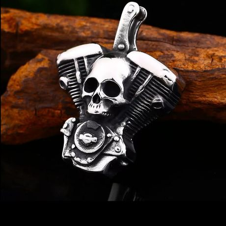 """Naszyjnik motocyklowy """" Silnik z czaszką """""""