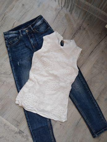 Spodnie dzinsowe r xs bluzka koronka r xs s