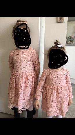 Sukienka świąteczna Hend Made koronkowa rozmiar 80