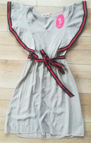 Sukienka z falbanką, sukienka dopasowana, letnia sukienka, sukienka