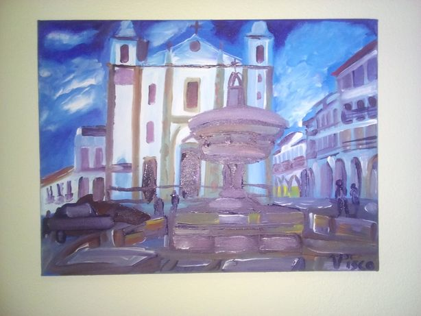 Praça do Giraldo/ Évora III, acrílico sobre tela, 30x40 cm