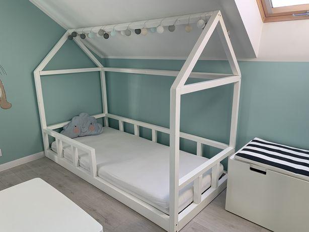 Łóżko skandynawskie domek białe 200x90 ze stelażem