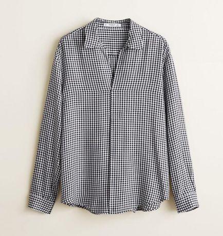 MANGO elegancka luźna koszula w kratę kratka avenue kołnierzyk 303
