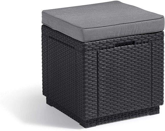 Allibert Cube Kwadratowy stołek z poduszką, efekt rattanu, plastik