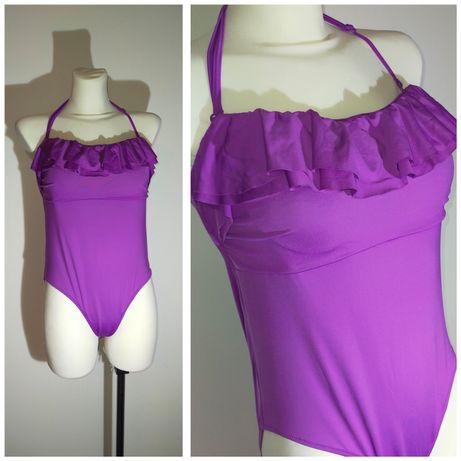 Strój kąpielowy jednoczęściowy kostium falbana fioletowy 42 xl