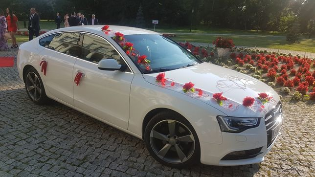 Auto do ślubu !!! Piękne biale audi a5 sportback.