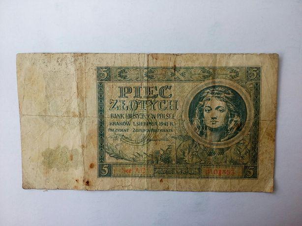 2(фото,описание).БАНКНОТА 5(PIEC ZLOTYCH),Пять Злотых(1941 год).POLAND