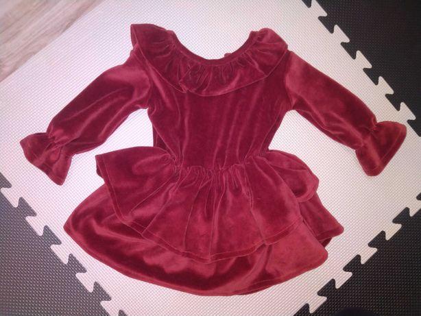 Sukienka welurowa z kołnierzykiem baby powder handmade 80
