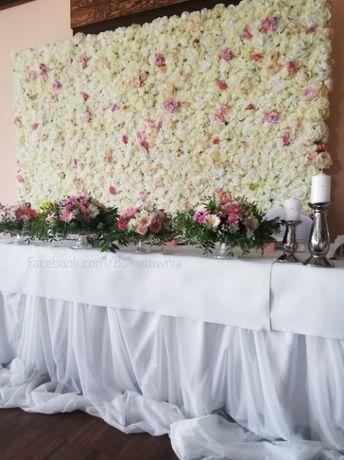 Ścianka kwiatowa, tło para młoda, sesje foto.