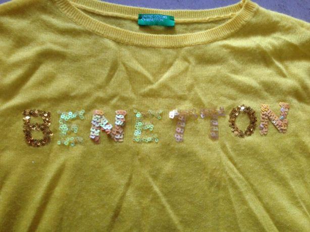 Bluzeczka koszulka żółta cekiny 122 benetton