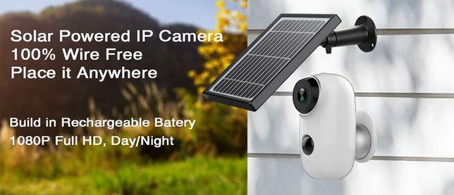 Camera Vigilância Exterior Painel Solar 1080P Sem Fio Wireless Bateria