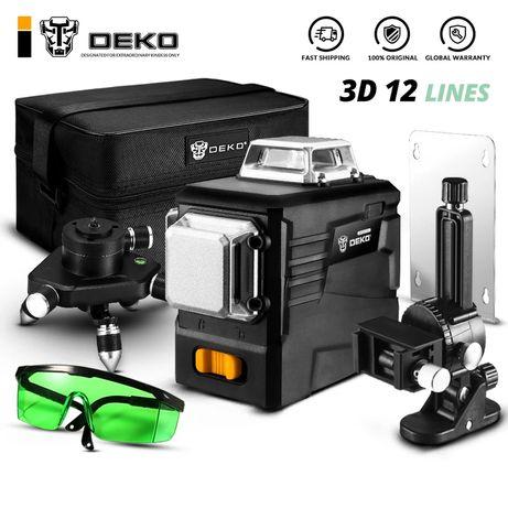 Лазерный уровень DEKO 3 D нивелир,360' зелёный луч