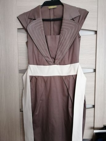 Sukienka - brąz z kremem